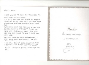Thank you card received from the lady who asked us to rescue the small band of stray cats near her workplace
