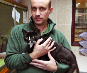 Kinky after her leg amputation, pictured with Steve Marshall at the charity's isolation unit