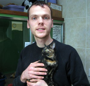 Steve Worth, pictured at the South Cave cattery where he works